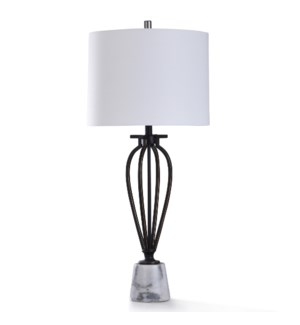 PICKERING BRONZE TABLE LAMP | 17in w. X 38in ht. | Transitional Cage Style Metal Table Lamp with Nat