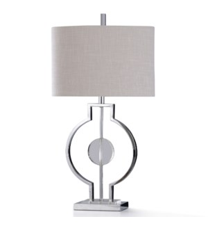 ZORZI SILVER TABLE LAMP | 11in w. X 31in ht. | Orbital Brushed Steel and Clear Crystal Glass Sphere