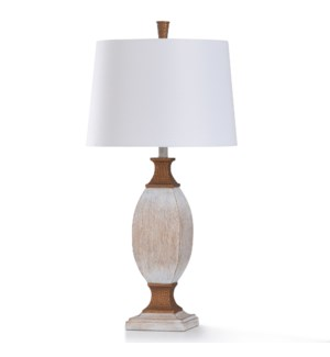 WILTON CREAM TABLE LAMP | 16in w. X 32in ht. X 16in d. | Traditional Washed White with Dimpled Coppe