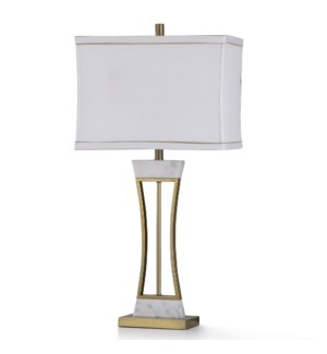 CECCO GOLD TABLE LAMP | 13in w. X 33in ht. | Old Gold Metal and Natural Marble Base Table Lamp | 100
