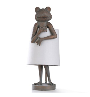 MALTA SAGE TABLE LAMP | 10in w. X 23in ht. | Patina Frog Figure with Shade Dress Desk Lamp | 60 Watt