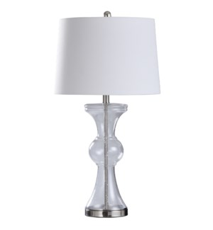 CLEAR SEEDED TABLE LAMP | 16in w. X 31in ht. | Transitional Glass Body and Brushed Steel Base Table