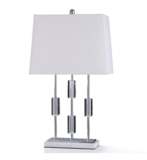PAVESI CLEAR TABLE LAMP | 30in ht. | Chrome Metal with Clear Crystal Glass Weights and Natural Marbl