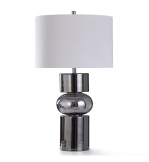 MILLOM TABLE LAMP | 19in w. X 34in ht. | Smoke Glass and Black Chrome Metal Body Table Lamp | 150 Wa