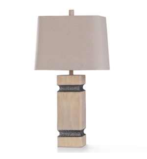 HAVERHILL TABLE LAMP | 16in w. X 32in ht. | Traditional Ivory Post Table Lamp with Hammered Lead Sty