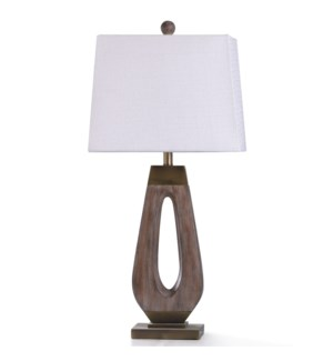 GRIFO GOLD TABLE LAMP | 33in ht. | Transitional Wood Washed and Old Gold Metal Body Table Lamp | 100