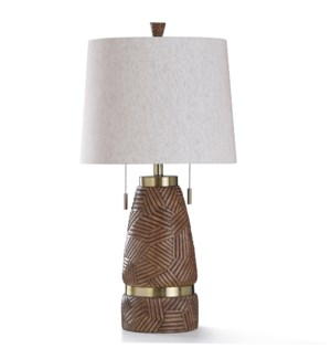 EAST BOURNE TABLE LAMP | 16in w. X 31in ht. | Rigid Wood Carved Body Table Lamp with Brass Metal Acc
