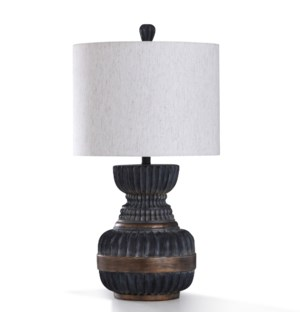 MALTA BLACK TABLE LAMP | 31in ht. | Traditional Ribbed Wave and Banded Body Table Lamp in Antique Br