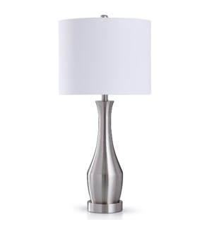 BRUSHED STEEL TOUCH LAMP | 31in X 14in | Brushed Steel | Transitional Metal Touch Table Lamp