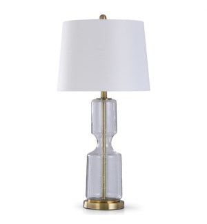 CLEAR SEEDED | 31in X 15in | Transitional Glass and Antique Brass Steel Table Lamp