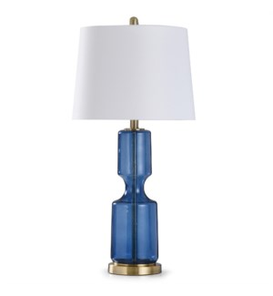 SEEDED NAVY   31in X 15in   Transitional Glass and Antique Brass Steel Table Lamp
