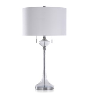 SEEDED CLEAR GLASS & CHROME | Transitional Steel & Clear Glass Table Lamp with Twin Pull Chain Switc