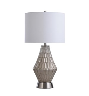 HILLIINGDON CHAMPAGNE | 17in w X 32in ht X 17in d | Clear Glass Table Lamp with Brushed Steel Base |