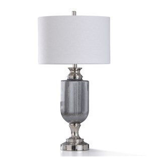 SUNDA SILVER TABLE LAMP   17in w. X 33in ht.   Chrome Metal and Nickel Plated Ribbed Glass Body Tabl
