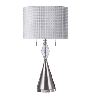 CLARE SILVER TABLE LAMP   17in w. X 33in ht.   Transitional Figure Form Table Lamp with Clear Seeded