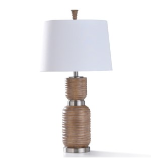 DARLEY TABLE LAMP   32in ht.   Painted Transitional Dark Sand Ribbed Body Table Lamp with Brushed St