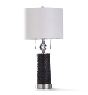 AGLONA TABLE LAMP   32in ht.   Twin Pull Chain Black Coal Textured Body Table Lamp with Diamond Cut