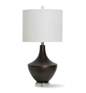 COLEFORD BRONZE TABLE LAMP   28in ht.   Detailed Dark Bronze Global Metal Body Table Lamp with Clear