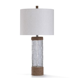 AUKAI TABLE LAMP   33in ht.   Coastal Clear Shell Motif Glass Column Style Table Lamp with Natural R