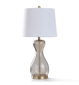 COLYTON GOLD TABLE LAMP   31in ht.   Amber Swirl Glass Traditional Style Table Lamp with Brass Metal