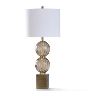 COLYTON GOLD TABLE LAMP   38in ht.   Amber Ribbed Glass Stacked Sphere Body Table Lamp with Clear Ac