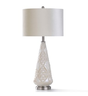 CASTI CREAM TABLE LAMP   31in ht.   Ivory Pearl Glass Traditional Style Table Lamp with Diamond Desi