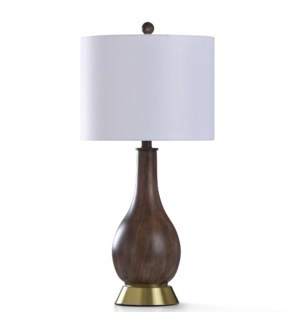 ROANOKE TABLE LAMP   13in w. X 28in ht.   Transitional Smooth Wood Painted Body Table Lamp with Anti