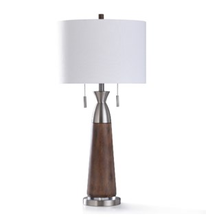 ALLERTON TABLE LAMP   34in ht.   Twin Pull Chain Transitional Painted Wood and Brushed Steel Metal B