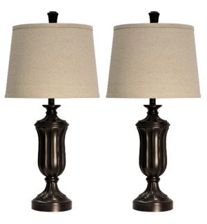 Pair of Madison Bronze Injection Molded Table Lamps with Complimentary Hardback Shades