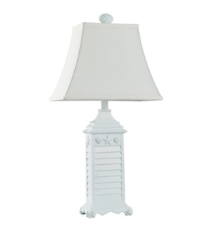 Nautical Theme Table Lamp in White of Monterey Oatmeal Fabric Shade