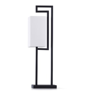 SATIN BLACK ACCENT LAMP   29in ht.   Modern Geometric Style Metal Structure Accent Desk Lamp   40 Wa