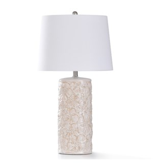 BERTO IVORY TABLE LAMP   31in ht.   Traditional Ceramic Cylinder Body Table Lamp Glazed in Antique W