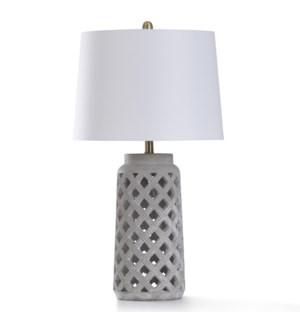 BONDI GREY TABLE LAMP   17in w. X 31in ht.   Open Work Lattice Design Washed Cement Material Pillar