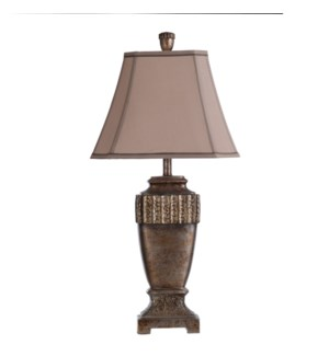 Conway table lamp silver leaf finish brown glaze over taupe gray  Textile shade contrasting trim