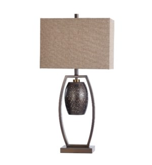 AMBLE SIDE | 17in w X 34in ht X 9in d | Contemporary Steel Table Lamp with Pewter Finish and Night L