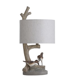 SANDERLING | 13in w X 25in ht X 13in d | Two Birds and a Branch Moulded Table Lamp | 100 watts