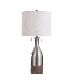 HITCHIN SILVER | 15in w X 32in ht X 15in d | Brushed Steel Bottle Shape Table Lamp with Moulded Faux
