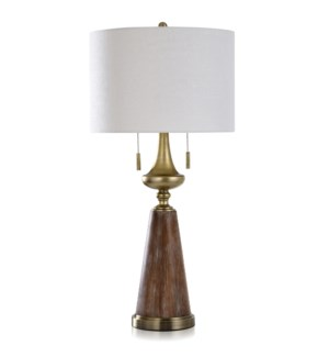 GRIFO GOLD | Transitional Steel & Moulded Body Table Lamp with Twin Pull Chain Switches | 17in w X 3