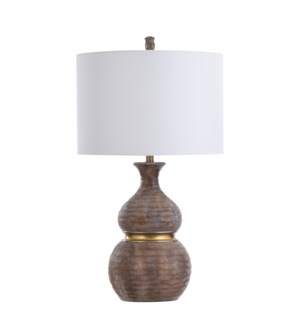 GRIFO GOLD | 18in w X 33in ht X 18in d | Gourd Shaped Molded Table Lamp with Gold Accent | 150 watts