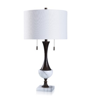 DRAKO BRONZE   Oiled Bronze & Solid White Mable Table Lamp with Twin Pull Chains   16in w X 31in ht