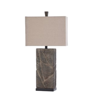 VINCENT BRONZE WITH ORB | 16in w X 31.5n ht X 8in d | Textured Block Molded Table Lamp with Crystal