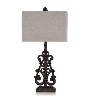 TEXTURED BRONZE | 35in ht  X 18in w  X 18in d  | Traditional Scroll Design Table Lamp with Gold Vein