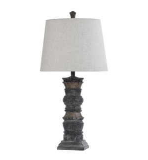 MALTA BLACK | 16in w X 32in ht X 16in d | Transitional Column Moulded Table Lamp with Stone like Fin