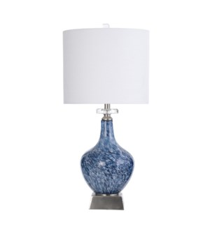 SILSDEN BLUE | 14.5in w X 31.5in ht X 14.5n d | Marbled Look Art Glass Body Table Lamp with Brushed