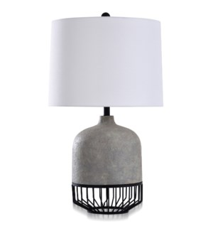 POMONA | Transitional Metal & Moulded Design Table Lamp in Gray Stone & Onyx | 18in w X 31in ht X 18