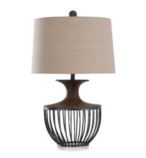ORONO BRONZE | Transitional Metal & Moulded Design Table Lamp in Pewter & Dark Amber | 19in w X 30in