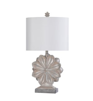 ASCOLI SILVER | 16in w X 30in ht X 8.5n d | Single Flower Molded Table Lamp | 100 watts