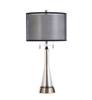 MANOR GOLD | 17in w X 35in ht X 17in d | Amber Glass Table Lamp with Brushed Metal Base | 60 X 2 wat