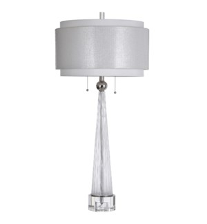 QUINN WHITE | 19in w X 0in ht X 19in d | Elegant Glass Column Table Lamp with Crystal Glass Round Ba