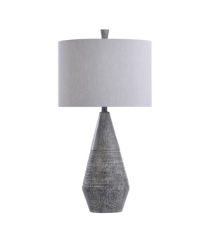BULWELL GREY | 16in w X 31in ht X 16in d | Tapered Molded Table Lamp with Wood-like Gray Finish | 15